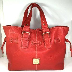 Dooney & Bourke XL Red Pebbled Leather Tote Bag